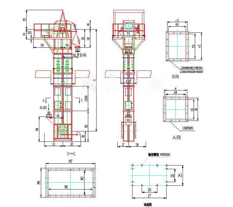 NE系列板链斗式提升机外形图